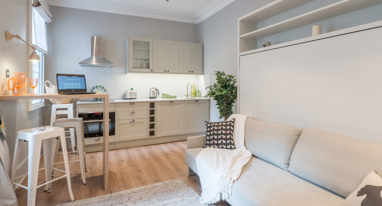 Our ground floor studio apartments to rent in London are warm and glowing